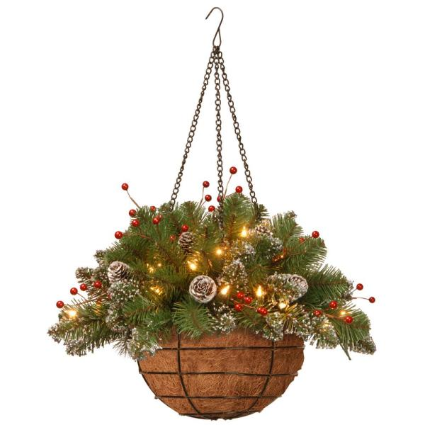 20 in. Glittery Mountain Spruce Hanging Basket with Battery Operated Warm White LED Lights