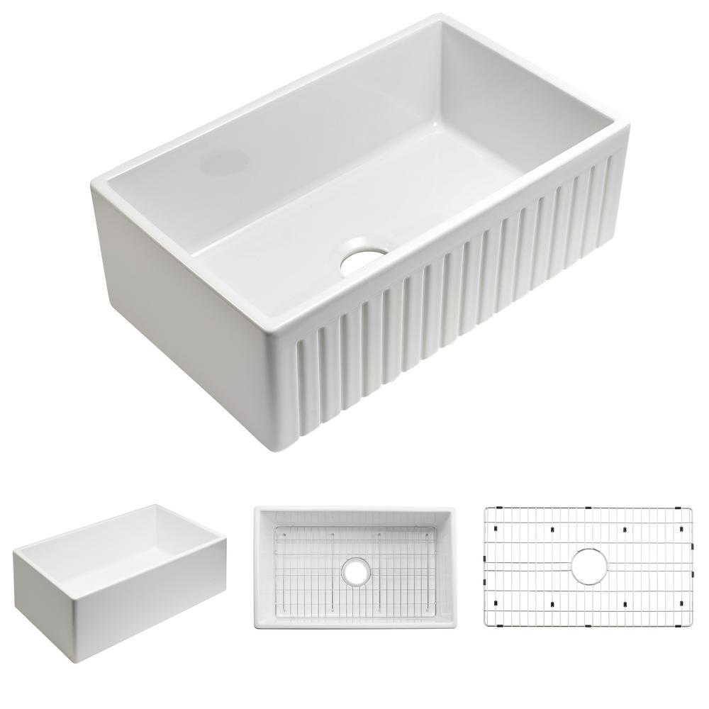 Empire Industries Sutton Place Farmhouse Fireclay 24 in. Single Bowl Kitchen Sink with Grid with Grid and Strainer