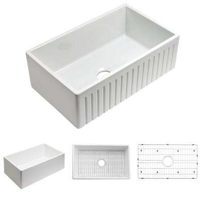 Sutton Place Farmhouse Fireclay 24 in. Single-Basin Reversible Fluted Edge Kitchen Sink with Free Grid