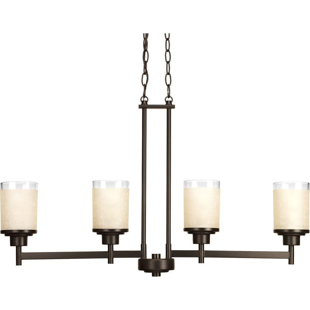Brown chandeliers lighting the home depot alexa collection 4 light antique bronze chandelier with etched umber linen glass arubaitofo Image collections