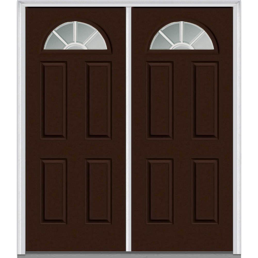 Mmi Door 60 In X 80 In Grilles Between Glass Right Hand Fan Lite 4 Panel Classic Painted Steel