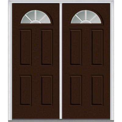 60 in. x 80 in. White Internal Grilles Right-Hand Inswing Fan Lite Clear 4-Panel Painted Steel Prehung Front Door