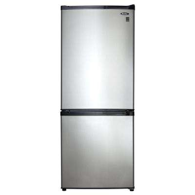24 in. W 9.2 cu. ft. Bottom Freezer Refrigerator in Stainless Look, Counter Depth