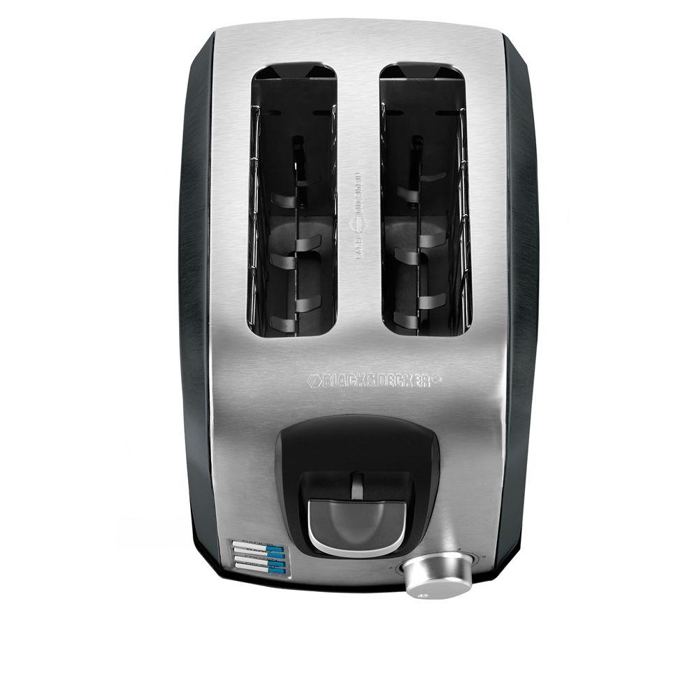 BLACK+DECKER 2-Slice Toaster in Stainless Steel and Black Sides-DISCONTINUED