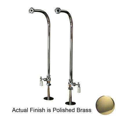 1/2 in. x 1/2 in. x 30 in. Polished Brass Freestanding Tub Hot and Cold Supply Line Set