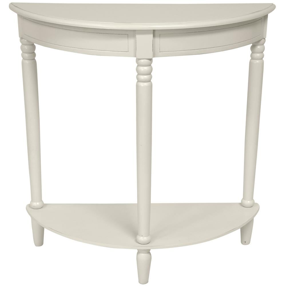 Null Half Round White End Table