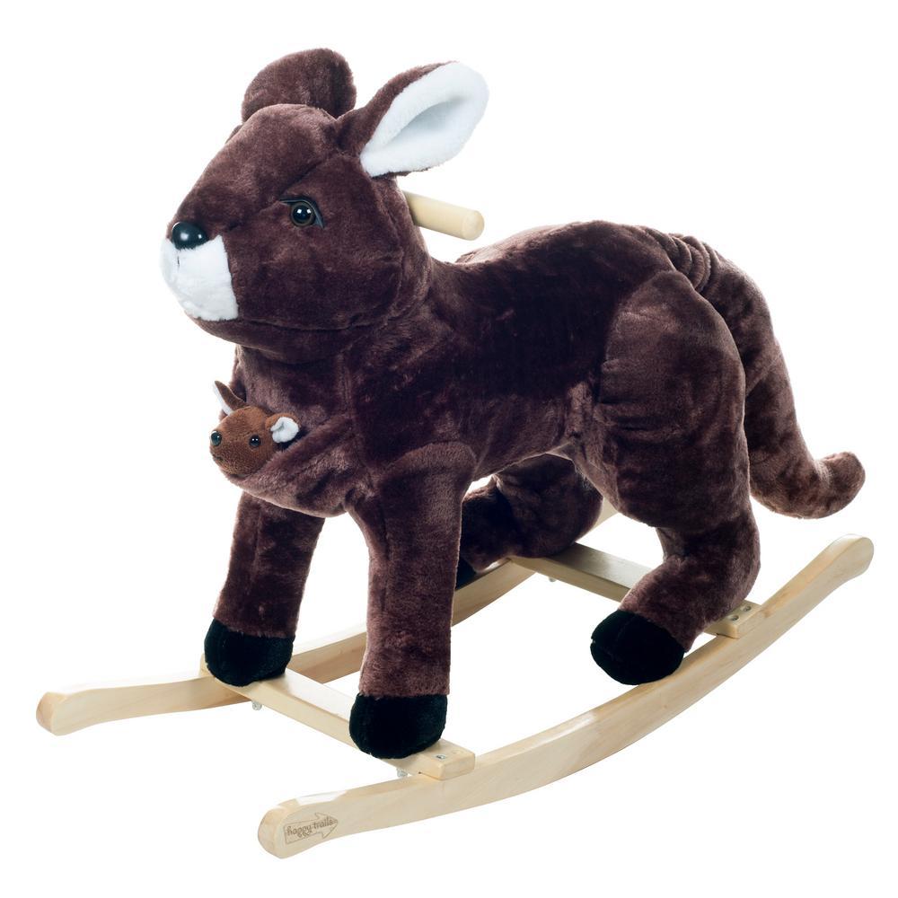 Plush Brown Rocking Kali the Kangaroo and Little Joey