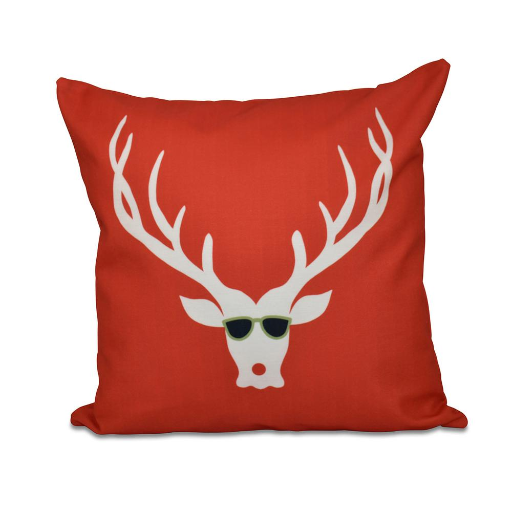 16 In X 16 In Cool Dude Decorative Holiday Pillow In Red