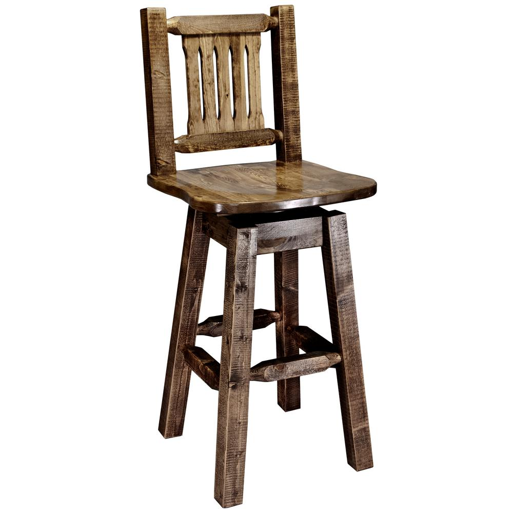 Homestead Collection 30 in. Early American Bar Stool with Swivel Seat and Back