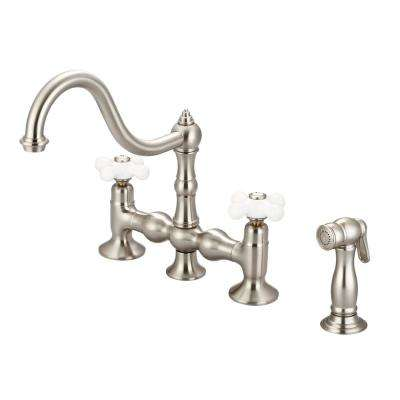 2-Handle Bridge Kitchen Faucet with Plastic Side Sprayer in Brushed Nickel