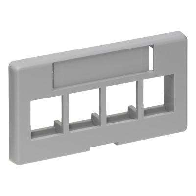 QuickPort 4-Port Modular Furniture Faceplate, Gray