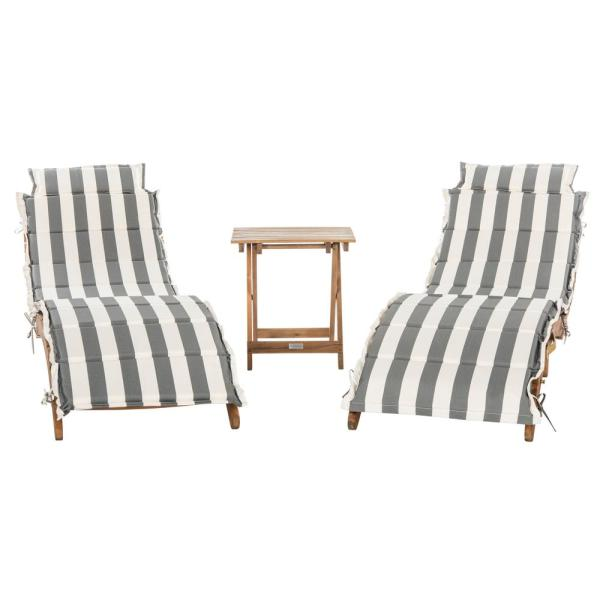 Safavieh Pacifica Natural Brown 3-Piece Wood Outdoor ... on Safavieh Chaise Lounge id=68616