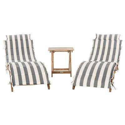 Pacifica Natural Brown 3-Piece Wood Outdoor Lounge Chair with Grey and White Cushion