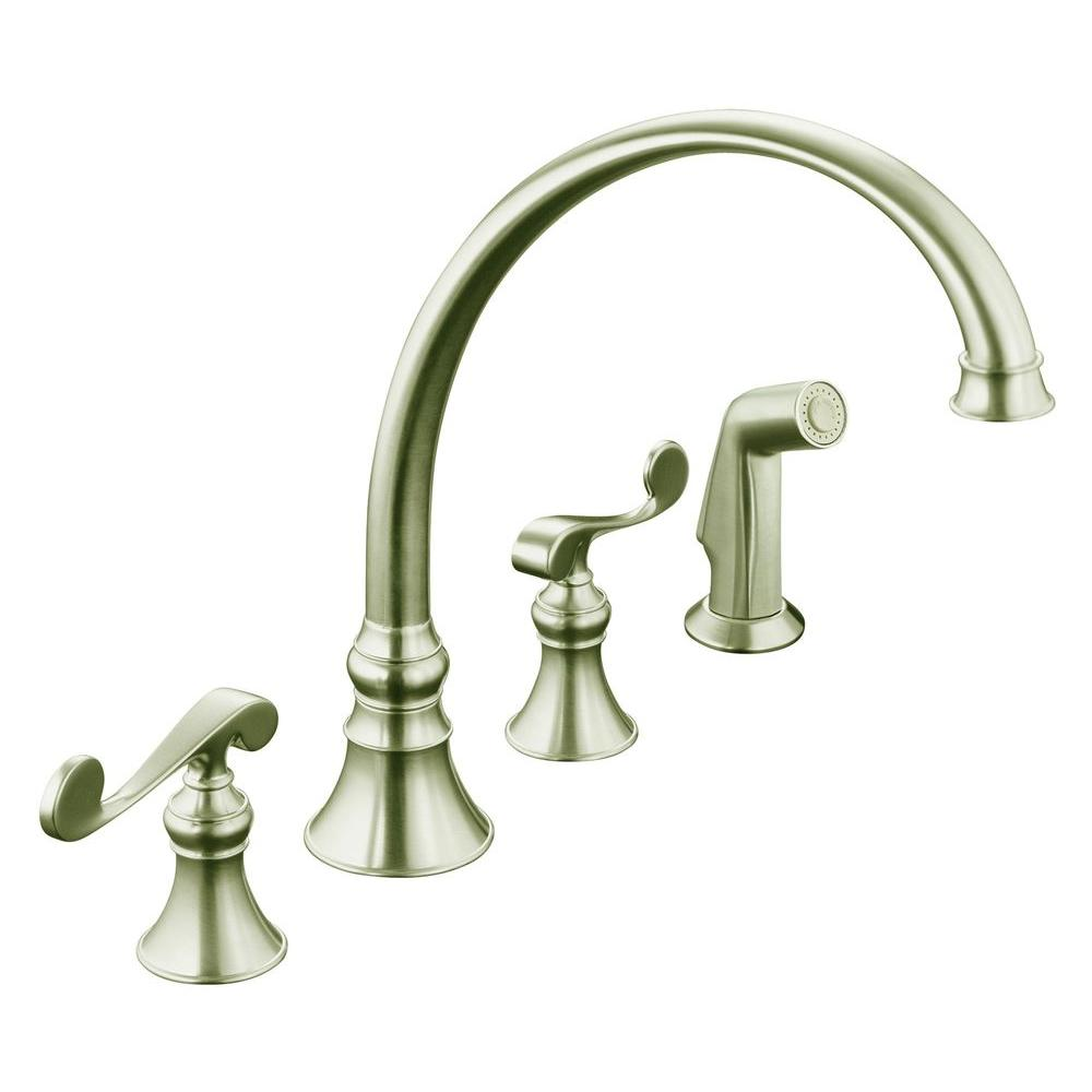 kohler revival 4 hole 2 handle standard kitchen faucet in vibrant brushed nickel kohler revival 4 hole 2 handle standard kitchen faucet in vibrant      rh   homedepot com
