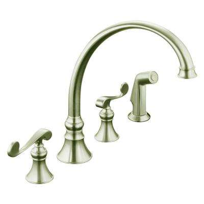 Revival 4-Hole 2-Handle Standard Kitchen Faucet in Vibrant Brushed Nickel