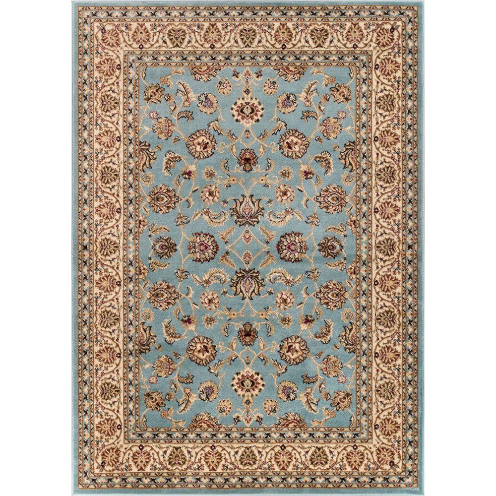 Well Woven Barclay Sarouk Light Blue 3 ft. 11 in. x 5 ft. 3 in. Traditional Floral Area Rug