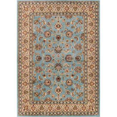 Barclay Sarouk Light Blue 7 ft. 10 in. x 9 ft. 10 in. Traditional Floral Area Rug