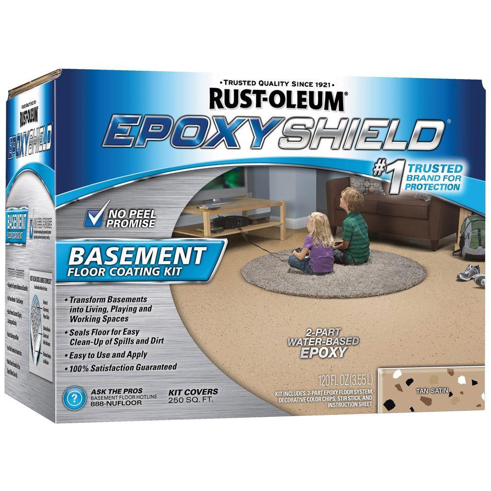 Rust-Oleum EpoxyShield 1 gal. Tan Satin Basement Floor Coating Kit (Case of 2)
