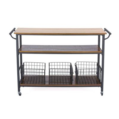 Lancashire Medium Brown Kitchen Cart with Baskets