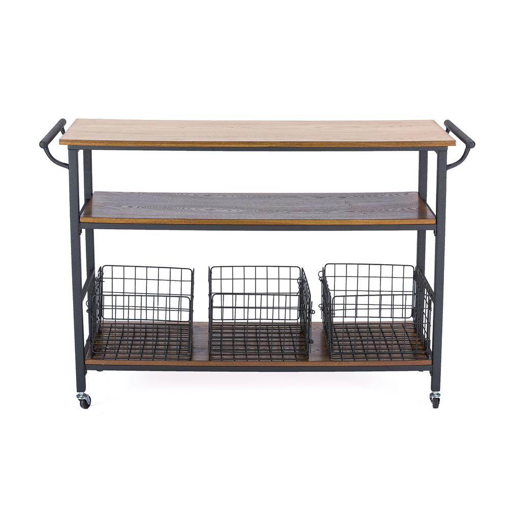 BaxtonStudio Baxton Studio Lancashire Medium Brown Kitchen Cart, Medium Brown Wood