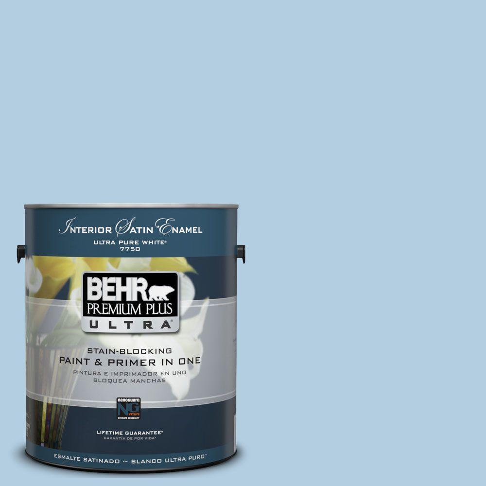 BEHR Premium Plus Ultra 1-Gal. #UL230-10 Crystal Waters Interior Satin Enamel Paint