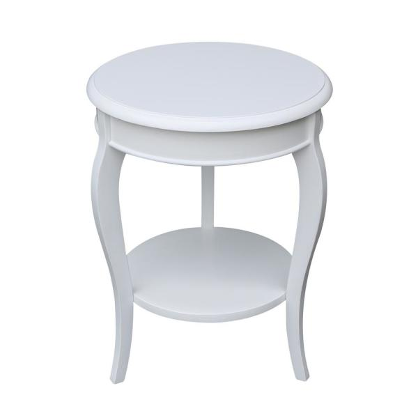 Cambria White Solid Wood Round End Table