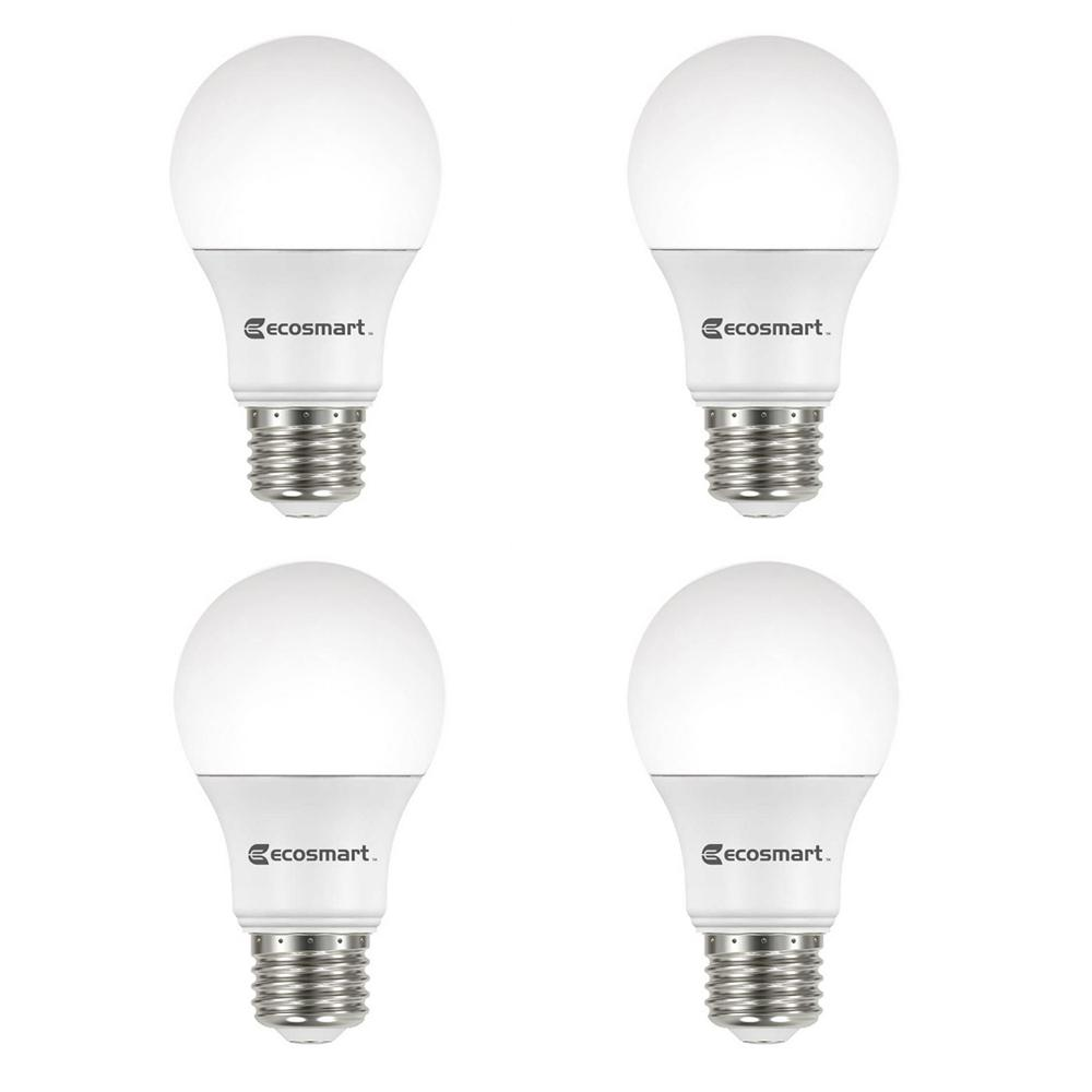 Ecosmart 100 Watt Equivalent A19 Non Dimmable Led Light Bulb Soft White 4 Pack A7a19a100wul01 The Home Depot