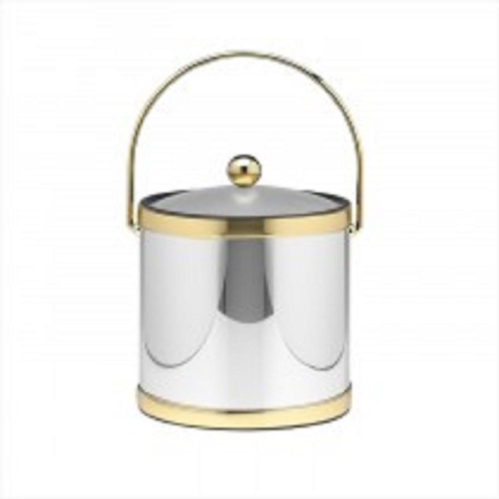 Kraftware Mylar Polished Chrome and Brass 3 Qt. Ice Bucket with Lucite Cover