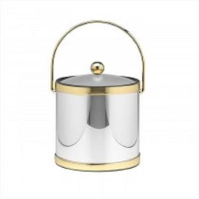 Mylar Polished Chrome and Brass 3 Qt. Ice Bucket with Lucite Cover