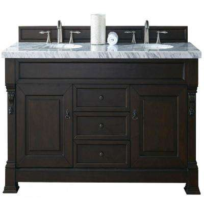 Brookfield 60 in. W Double Vanity in Burnished Mahogany with Marble Vanity Top in Carrara White with White Basin