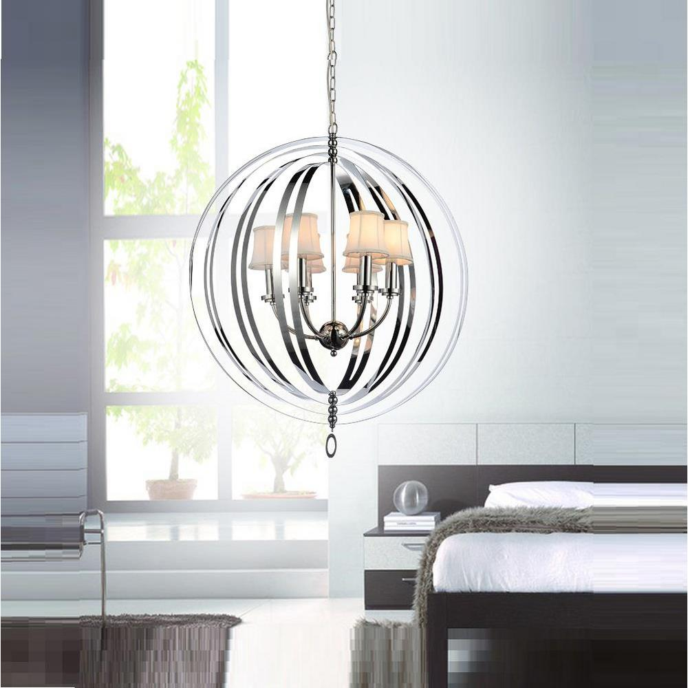Crystal world inc bird cage 5 light chrome chandelier with beige crystal world inc bird cage 5 light chrome chandelier with beige shade arubaitofo Image collections