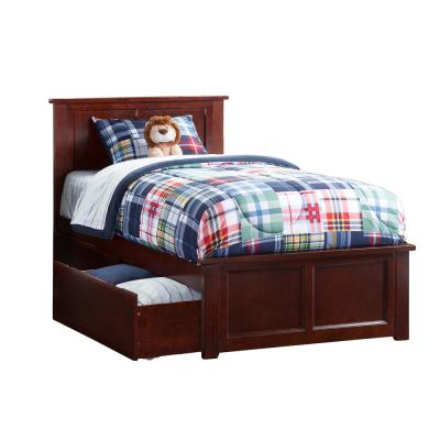 Madison Walnut Twin Xl Platform Bed With Matching Foot Board And 2 Urban Drawers