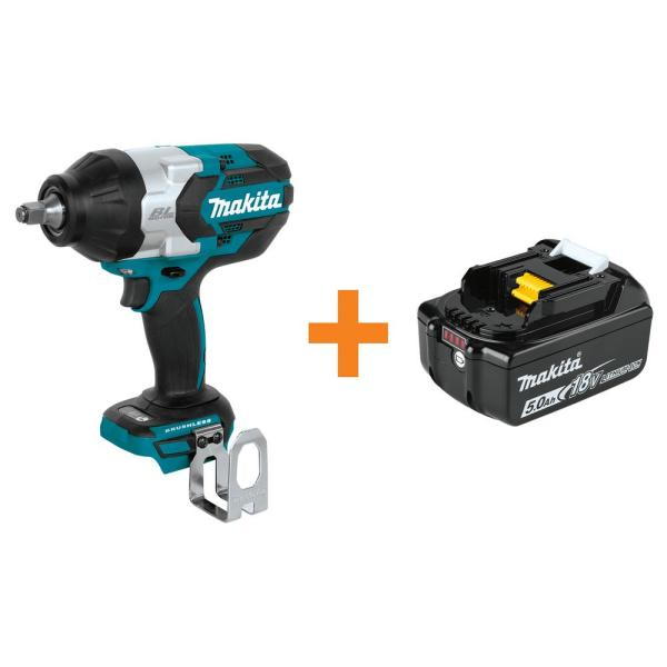 Makita 18-Volt LXT Brushless Cordless High Torque 1/2 in. Square Drive Impact Wrench with Bonus 18-Volt LXT 5.0 Ah Battery
