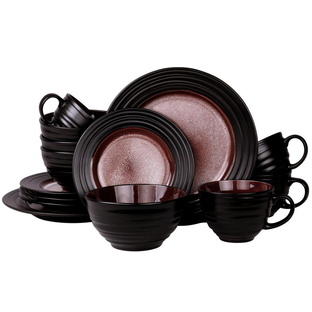 liana 16 piece black dinnerware set 985106201m the home depot. Black Bedroom Furniture Sets. Home Design Ideas
