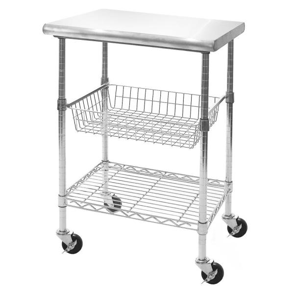 Seville Classics Stainless Steel Top Professional Kitchen Cart
