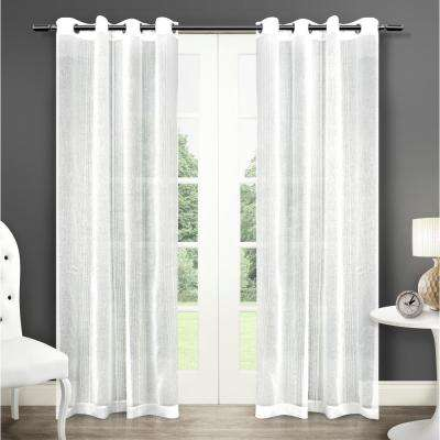 Sabrina 50 in. W x 96 in. L Sheer Grommet Top Curtain Panel in Winter White (2 Panels)
