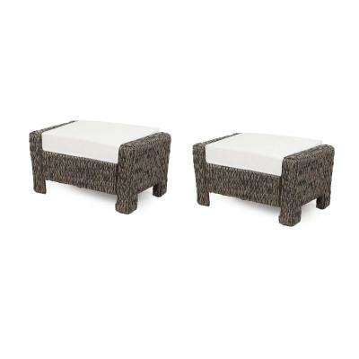Laguna Point Brown Wicker Outdoor Ottoman with Cushions Included, Choose Your Own Color (2-Pack)