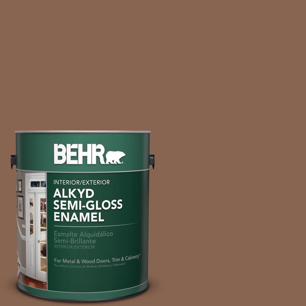 BEHR 1 gal. #PPU3-17 Clay Pot Semi-Gloss Enamel Alkyd Int...