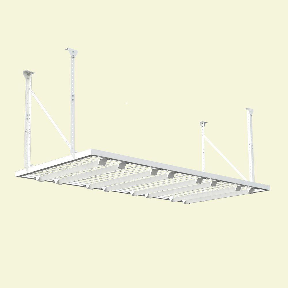 96 in. W x 48 in. D Adjustable Height Garage Ceiling Mount Storage Unit