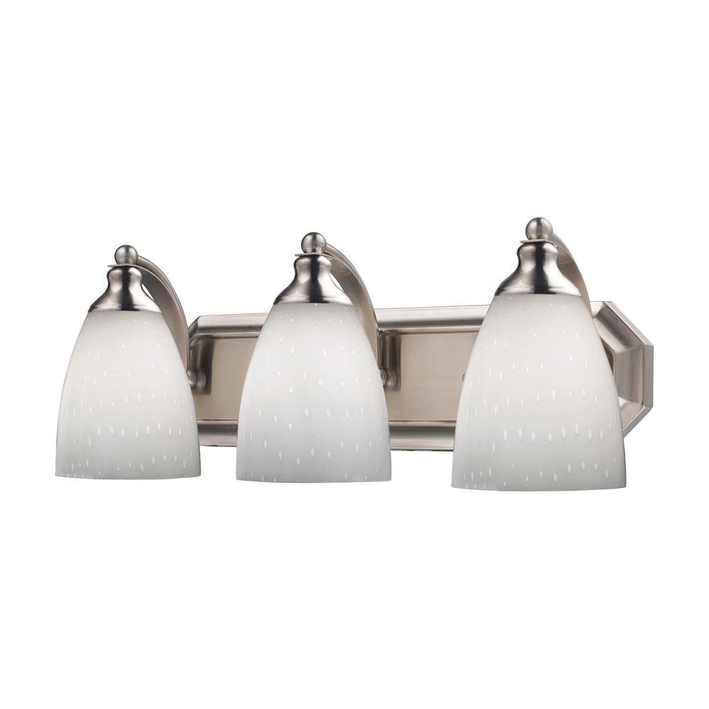 3-Light Satin Nickel Vanity Light with Simply White Glass