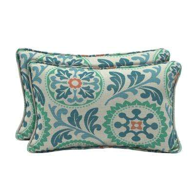 Sunbrella Province Turkish Lumbar Outdoor Throw Pillow (2-Pack)