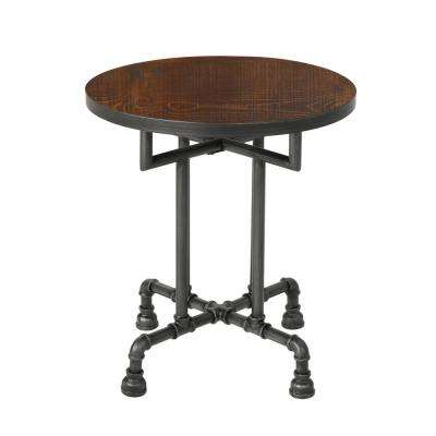Westleigh Industrial Round Dark Brown Faux Wood End Table with Black Iron Frame