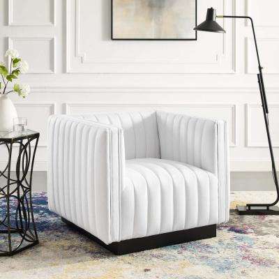 Perception Tufted Upholstered Fabric Armchair in White