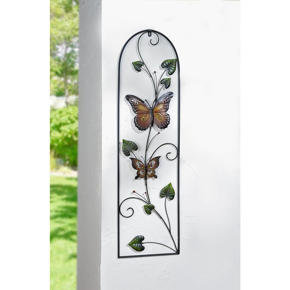 43.3 in. x 12.2 in. Colored Butterfly with Vines Framed Panel