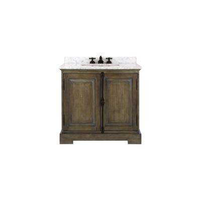 Clinton 36 in. W Single Vanity in Almond Latte with Natural Marble Vanity Top in White with White Basin