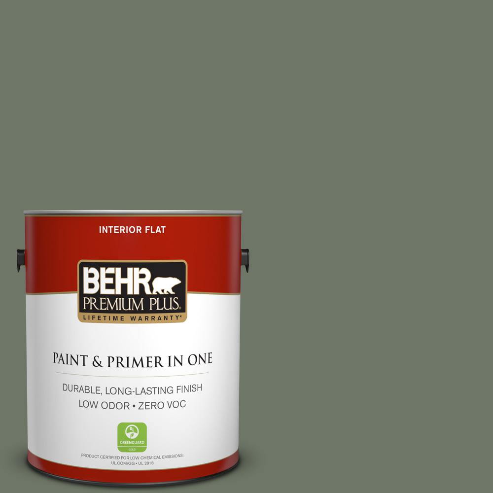 1 gal. #PPU10-19 Conifer Green Zero VOC Flat Interior Paint