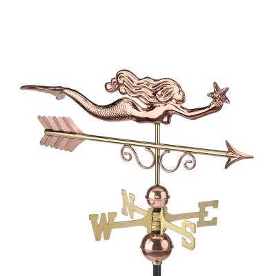 Pure Copper Little Mermaid Weathervane