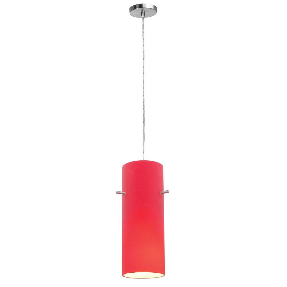 Access Lighting 1-Light Pendant Brushed Steel Finish Red Glass-DISCONTINUED