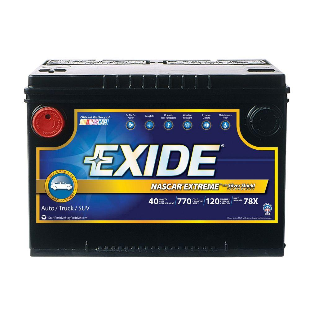 Exide Extreme 12 Volts Lead Acid 6 Cell 78 Group Size 770 Cold