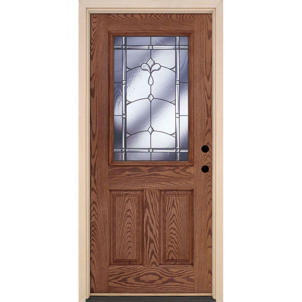 Feather River Doors 37.5 in. x 81.625 in. Carmel Patina 1/2 Lite Stained Medium Oak Left-Hand Inswing Fiberglass Prehung Front Door